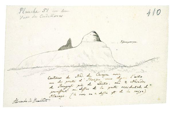 """Tagebuch VIIbb/c, 410r: Skizze der Tafel 51 des Humboldtschen Werks """"Vues des Cordilleres"""", Kontur des Berges Corazon, mit gestrichelter Linie ist die """"'Schneegrenze"""" eingezeichnet. Humboldt beschreibt in der Notiz die Lage des Berges in der Nähe von Quito. © Staatsbibliothek zu Berlin - PK / Fotostelle"""
