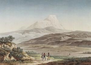 Plate XLII Vue du Cayambe in Humboldt, Alexander von (1810-1813): Vues des Cordillères et monumens des peuples indigènes de l'Amérique. Paris: Schoell.