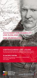 """19.06.2015, Vortragsabend und Lesung: """"Alexander von Humboldt und Russland. Eine Spurensuche"""", Berlin"""