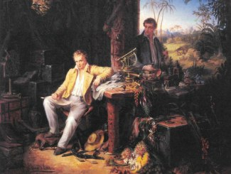 Alexander von Humboldt and Aime Bonpland in the jungle, picture by Eduard Ender
