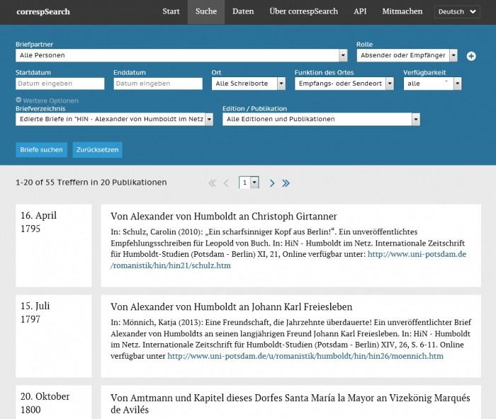 correspSearch-Anzeige der in HiN edierten Humboldt-Briefe