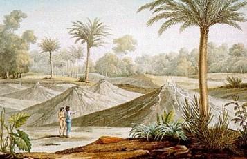 """Lámina XLI """"Volcans d'air de Turbaco"""" en: Humboldt, Alexander von ([1810-]1813): Vues des Cordillères et monumens des peuples indigènes de l'Amérique. Paris: Schoell."""