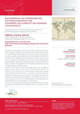 Veranstaltungsflyer 11.06.2019, Naturgemälde und Theoriegebäude. Zur Forschungspraxis von Alexander von Humboldt und Hermann von Helmholtz, Berlin