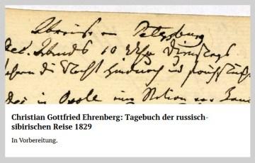 Christian Gottfried Ehrenberg: Tagebuch der russisch-sibirischen Reise 1829. In Vorbereitung. edition humboldt digital