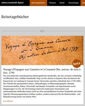 edition humboldt digital: Reisetagebücher, Akademienvorhaben Alexander von Humboldt auf Reisen – Wissenschaft aus der Bewegung, BBAW