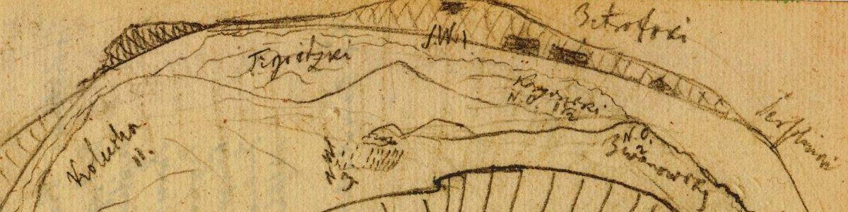 Christian Gottfried Ehrenberg: Horizontalpanorama des Altai (Detail), Archiv BBAW, NL C. G. Ehrenberg, Tagebuch der russisch-sibirischen Reise, Nr. 6, Bl. 82r