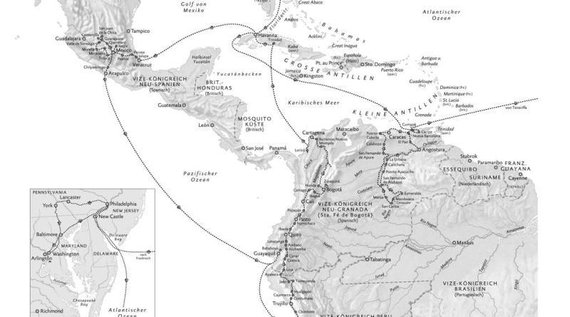 Humboldts Reiseroute in den amerikanischen Tropen und den USA in den Grenzen von 1780