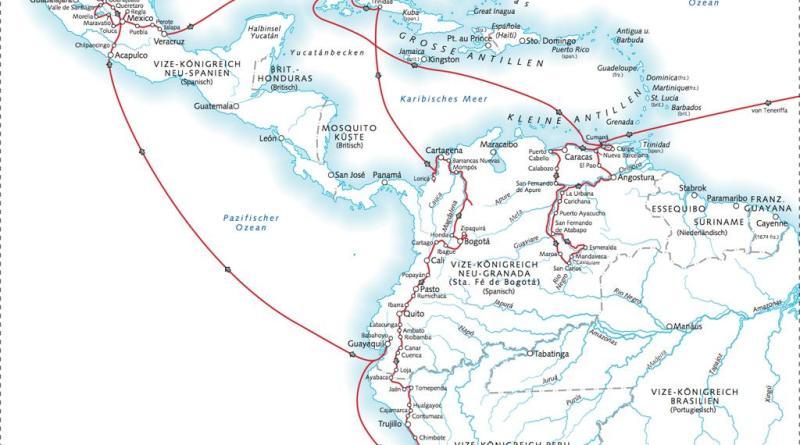 Humboldts Reiseroute in den amerikanischen Tropen