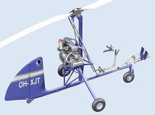 Modelo del JT-5, sin el carenado, exhibiendo la disposición de sus controles. Nótese la ausencia del estabilizador horizontal (Clic para ver dibujo de 3 vistas detallado)