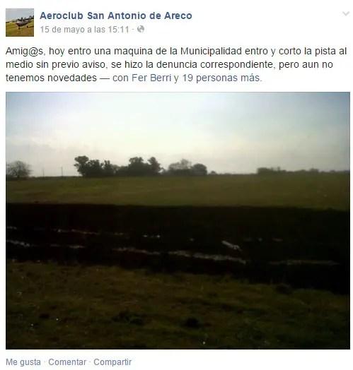 Así dio la triste noticia en su Facebook el Aeroclub San Antonio de Areco