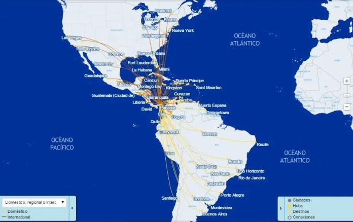 Mapa de rutas de Copa Airlines (Fuente: Copa)