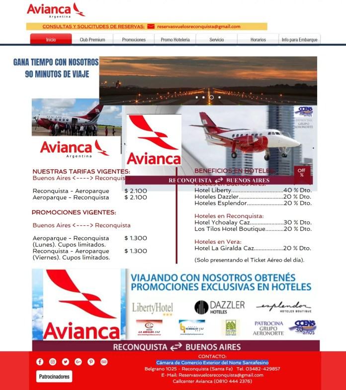 Avianca Argentina - sitio Reconquista aeronorte