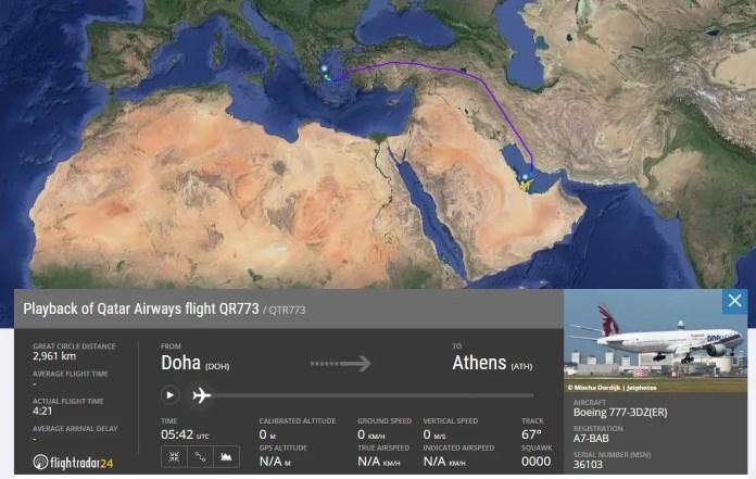 Qatar - vuelo DOHA SAO con bloqueo Atenas