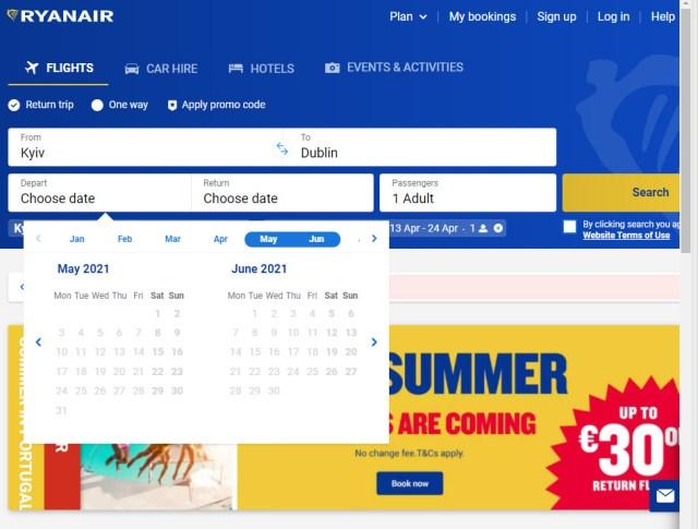На сайте Ryanair нельзя забронировать рейсы Киев-Дублин. В календаре отсутствуют доступные даты с рейсами