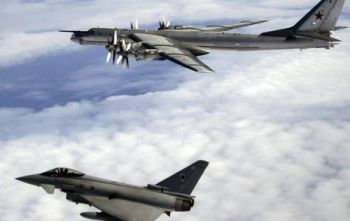 RAF Typhoon with Russian Bear-H Aircraft