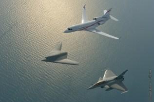 Dassault formazione in volo nEUROn, Rafale e Falcon 7X