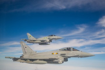 Royal Air Force Eurofighter Typhoon Air to Air with a falcon and a Typhoon Aircraft by SAC Megan Woodhouse