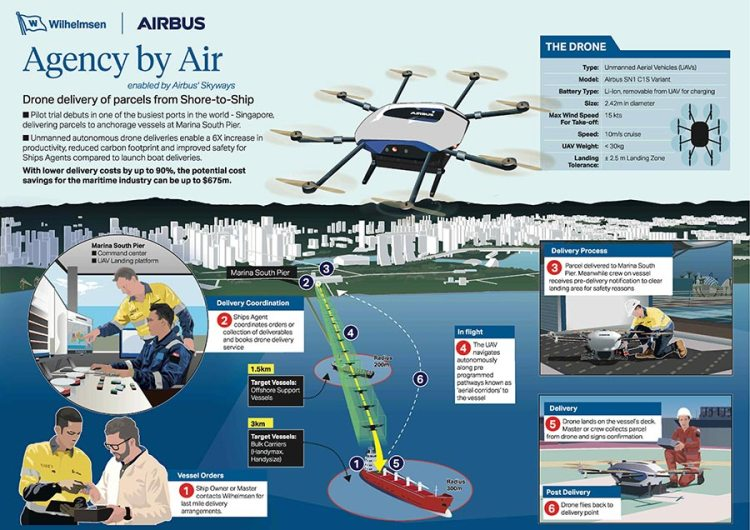 Skyways shore to ship infographics