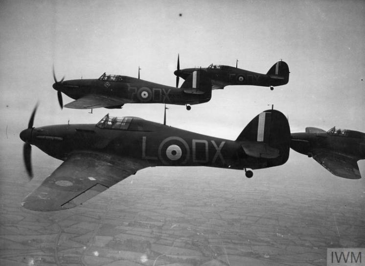 RAF FIGHTER COMMAND 1940 (HU 104454) Hurricane Mk Is of No. 245 Squadron, in flight from Aldergrove, near Belfast, November 1940. The lead aircraft is P3101 DX-?, the mount of the CO, Squadron Leader J W C Simpson. Copyright: © IWM. Original Source: http://www.iwm.org.uk/collections/item/object/205229969