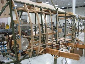 Side fairings for the Sopwith Strutter in the aviation career school hangar