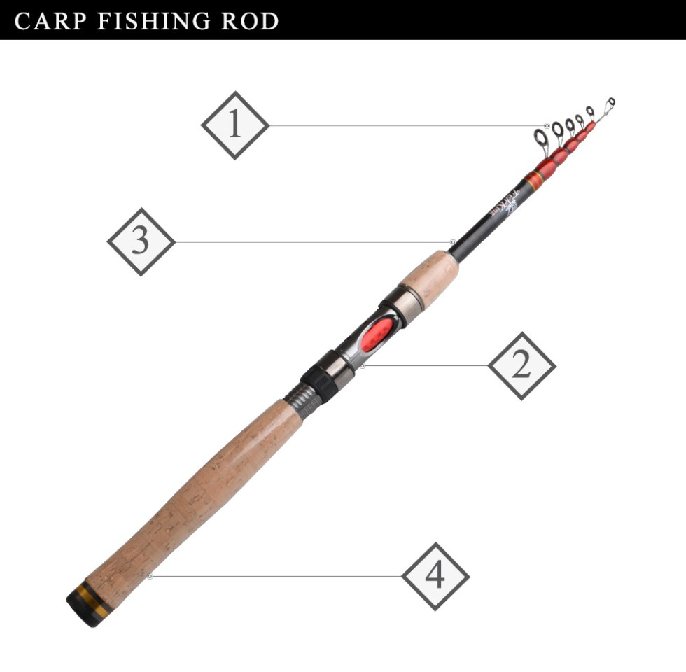 FISH KING Telescopic Carp Fishing Rod Pole 24T 99% Carbon 1.8m 2.1m 2.4m 2.7m 3m High Quality Carbon Spinning Boat Rock Sea Rod 10