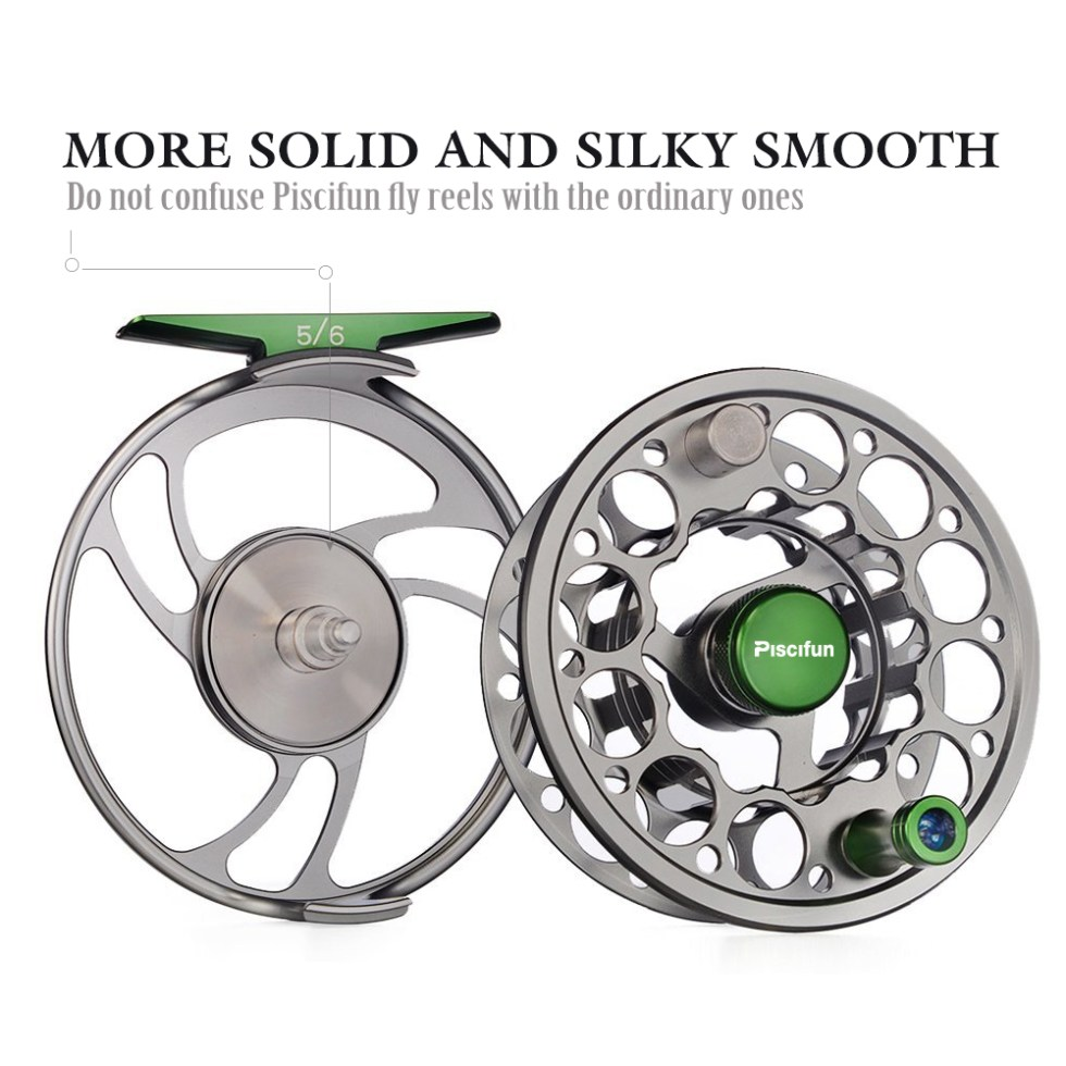 Piscifun Sword Fly Reel with CNC-machined Aluminium Material 3/4/5/6/7/8/9/10 WT Right Left Handed Fly Fishing Reel Gunmetal 9