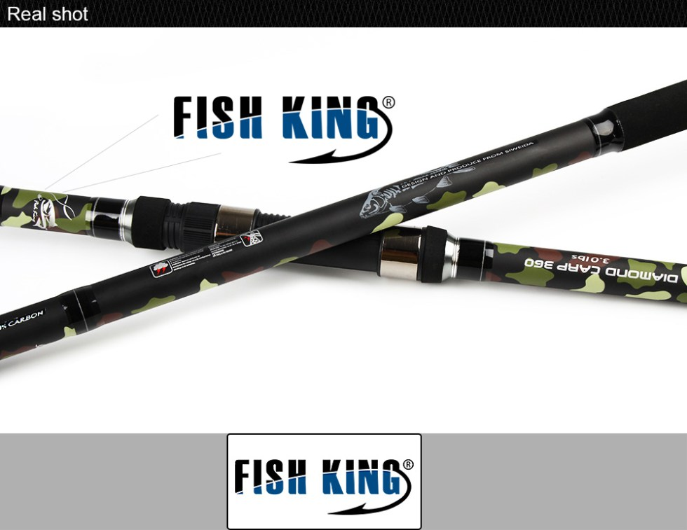 FISH KING Carp Fishing Rod 99% Carbon Standard 3.6m3.9m Contraction length 6 Secs Actual Weight 272G C.W 3.0/3.5LBS PechePesca 16