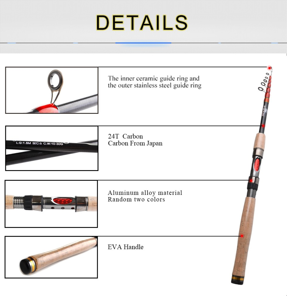FISH KING Telescopic Carp Fishing Rod Pole 24T 99% Carbon 1.8m 2.1m 2.4m 2.7m 3m High Quality Carbon Spinning Boat Rock Sea Rod 15