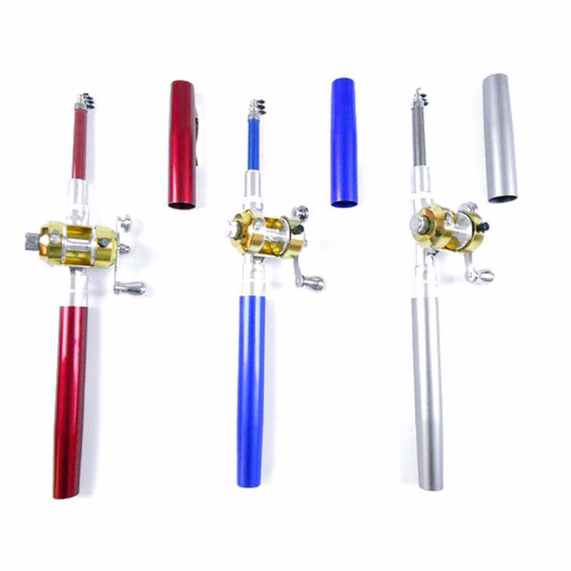 Portable Pocket Telescopic Mini Fishing Pole Pen Shape Folded Fishing Rod With Reel Wheel 23