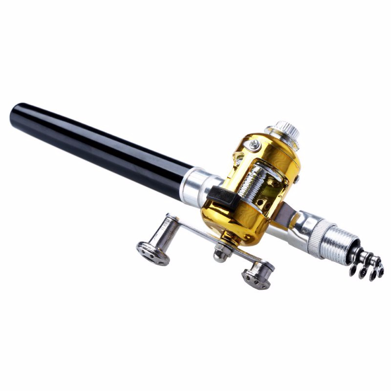 Portable Pocket Telescopic Mini Fishing Pole Pen Shape Folded Fishing Rod With Reel Wheel 15