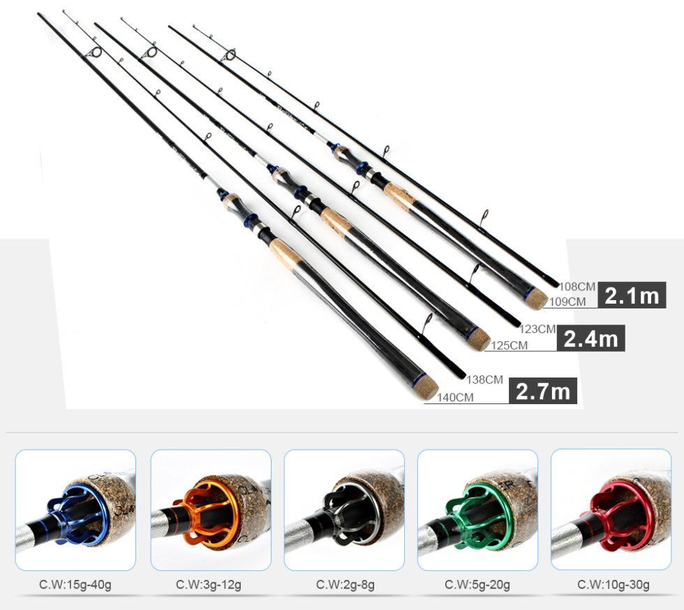 FISH KING Hi Carbon 5 Color 2.1M-2.7M 2 Section Soft Lure Fishing Rod Lure Weight 2-40g Spinning Fishing Rod For Lure Fishing 13