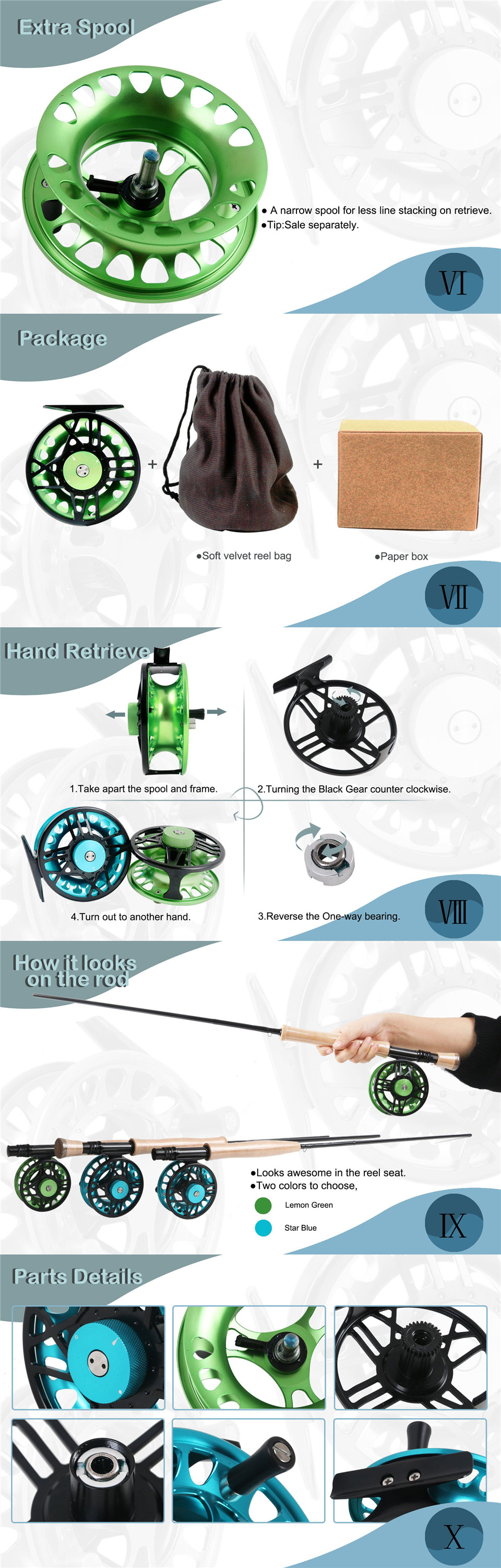 Maximumcatch TimeFly 5/6/7/8wt Fly Reel CNC Machined Cut Aluminum Teflon Disc Drag System Fly Fishing Reel Blue/Green Color 8