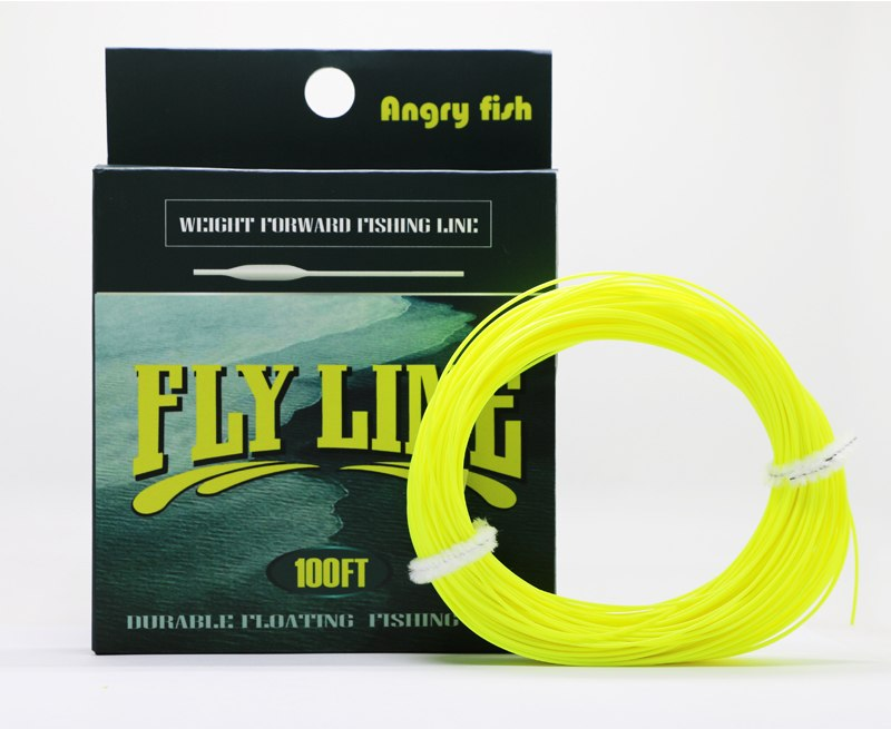 Angryfish WF 5F/6F/7F 100FT Dloating Fly Fishing Line Weight Forward Floating Nylon Backing Line Tippet Tapered Leader Loop 6
