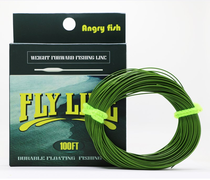 Angryfish WF 5F/6F/7F 100FT Dloating Fly Fishing Line Weight Forward Floating Nylon Backing Line Tippet Tapered Leader Loop 8