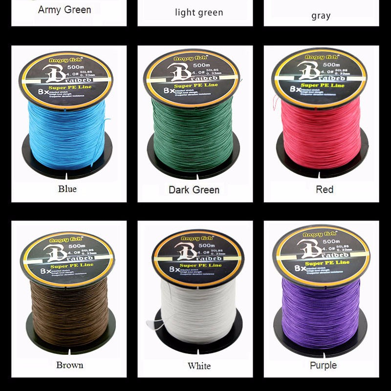 Angryfish Wholesale 500 Meters 8X Braided Fishing Line 11 Colors Super Strong PE Line 12