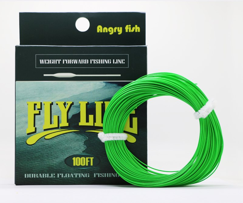 Angryfish WF 5F/6F/7F 100FT Dloating Fly Fishing Line Weight Forward Floating Nylon Backing Line Tippet Tapered Leader Loop 7