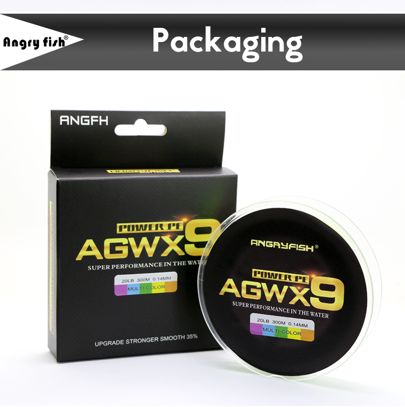 Angryfish 300M 9 Strands Super Weave Multicolor PE Braided Fishing Line Strong Strength Fish Line 9
