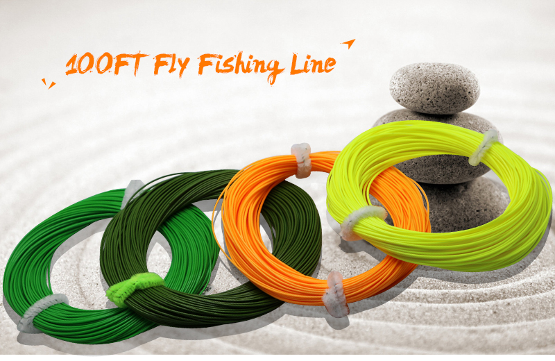 Angryfish WF 5F/6F/7F 100FT Dloating Fly Fishing Line Weight Forward Floating Nylon Backing Line Tippet Tapered Leader Loop 1