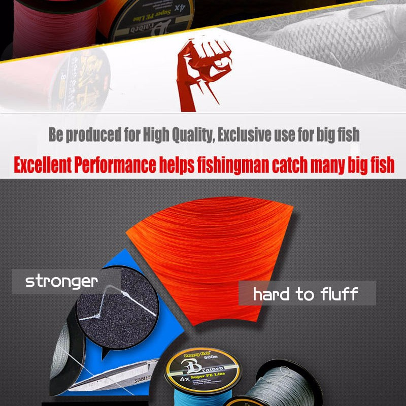 Angryfish Hot New 500m 4 Strands Braided Fishing Line 11 Colors Super PE Line Strong Strength 3