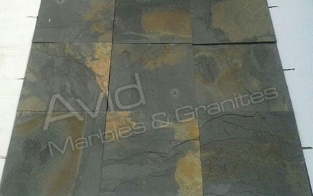 black rustic slate flooring tiles