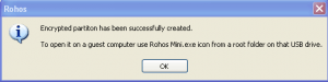 Rohos Disk  encryption done