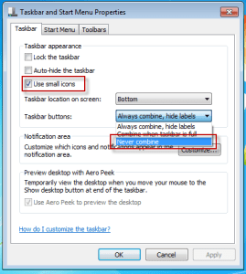 Taskbar windows 7 properties