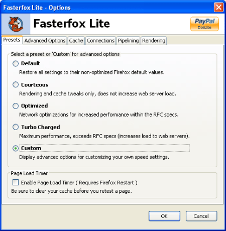 fASTERFOX LITE advance settings