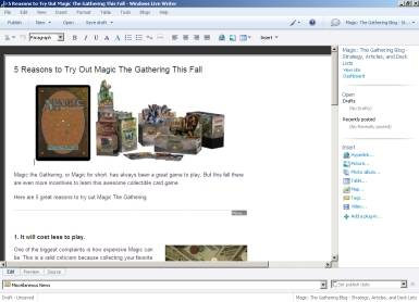 Windows Live Writer Screenshot