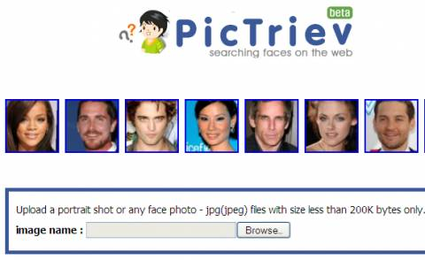 Facial recognition web search