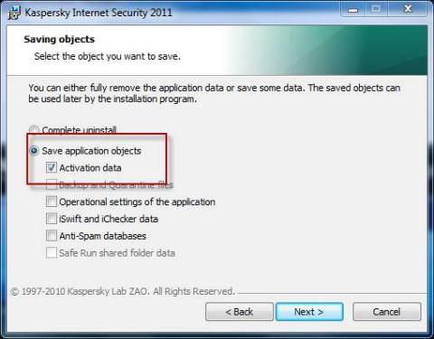 How to save Kaspersky activation data while uninstalling 1