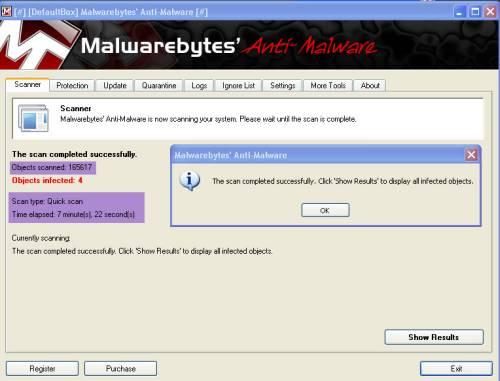 Malwarebytes quick scan