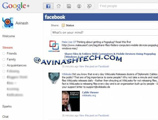 Google+ facebook stream