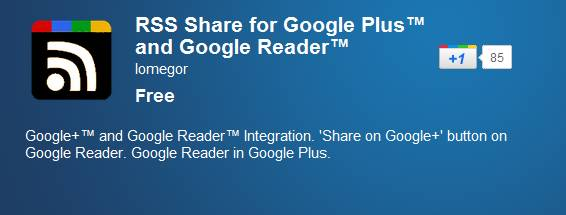 Add Google Reader and Share option inside Google+ [Chrome Extension] 1