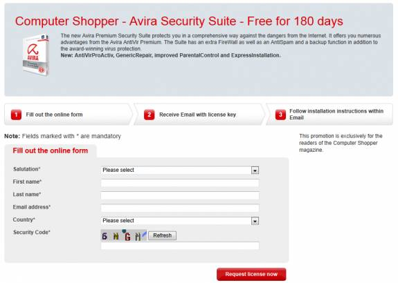 free Avira security license key